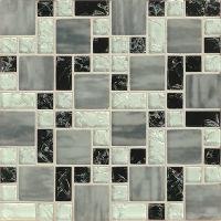 GLSMGICPG7 - Ice Crackle Glass Mosaic Mosaic - Black