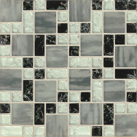 GLSMGICPG7 - Ice Crackle Glass Mosaic Mosaic - Black
