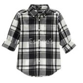 Gymboree Boy Long Sleeve Checked Plaid Shirt Black