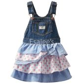Oshkosh Girls Floral Stripe Overall Dress Denim Multi