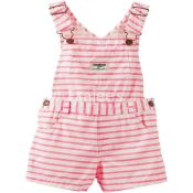 Oshkosh Girls Striped Poplin Shortalls Dress Pink
