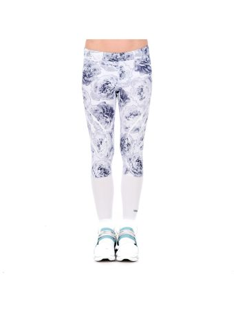 White Flower Print Run Tights