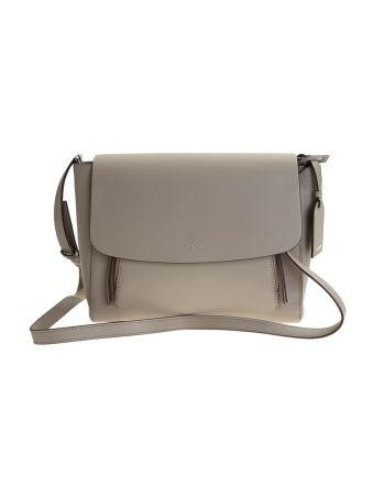Grey Leather Greenwich Messenger Bag