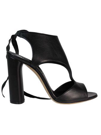 Black Lace Detail High Sandals