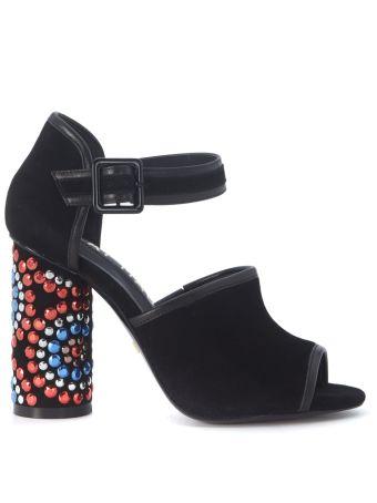 Kat Maconie Sierra Heeled Sandal In Black Leather And Suede