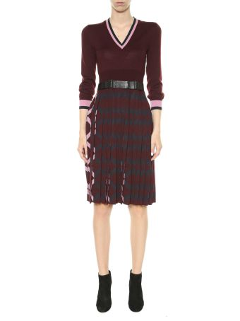 Bottega Veneta Knitted Wool Dress With Geometric Details