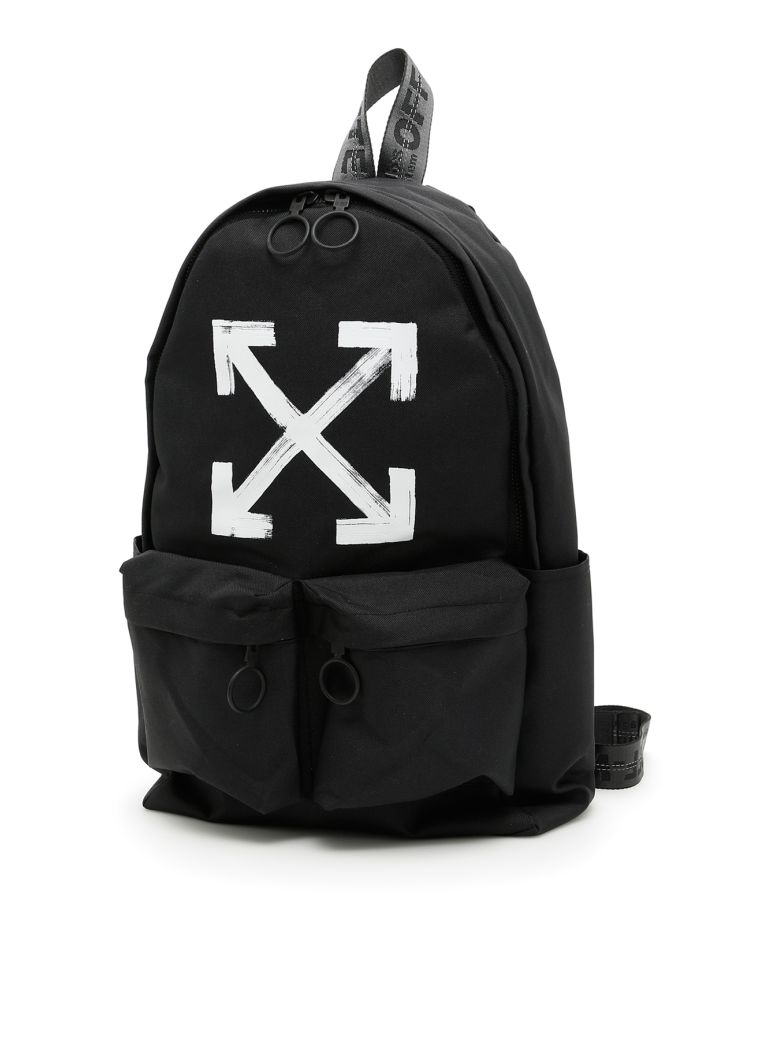 off white brushed arrows leather backpack black modesens. Black Bedroom Furniture Sets. Home Design Ideas