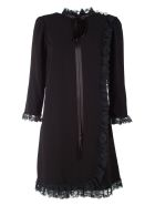 Marc Jacobs Lace And Crepe Babydoll Mini Dress