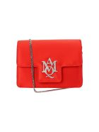 Red Satin Insignia Satchel Mini Chain Bag