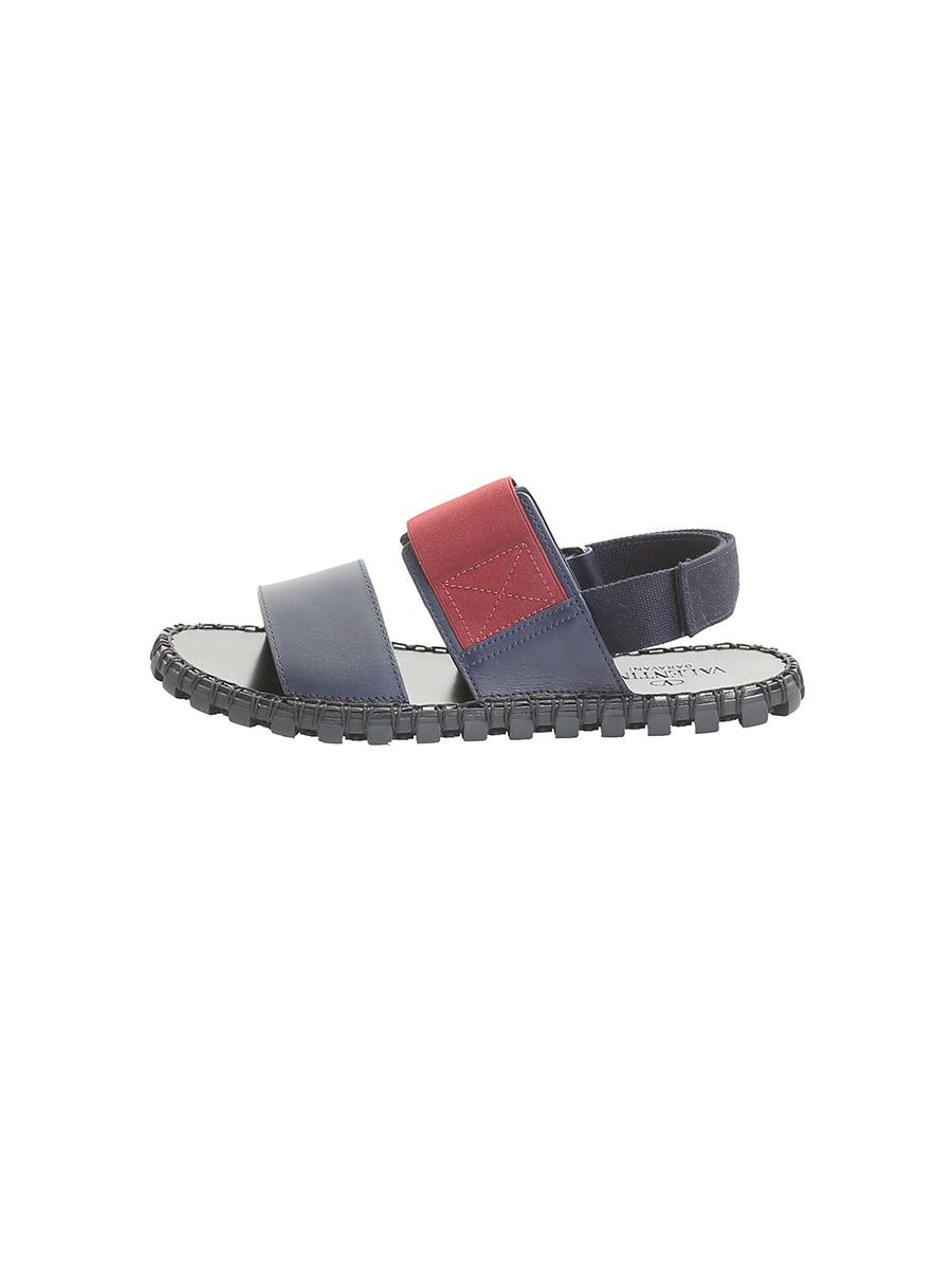 Blue And Burgundy Crossed Elasticated Bands Sandals
