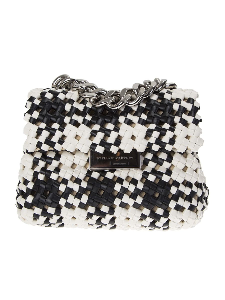 White And Black Weaved Beckes Bag