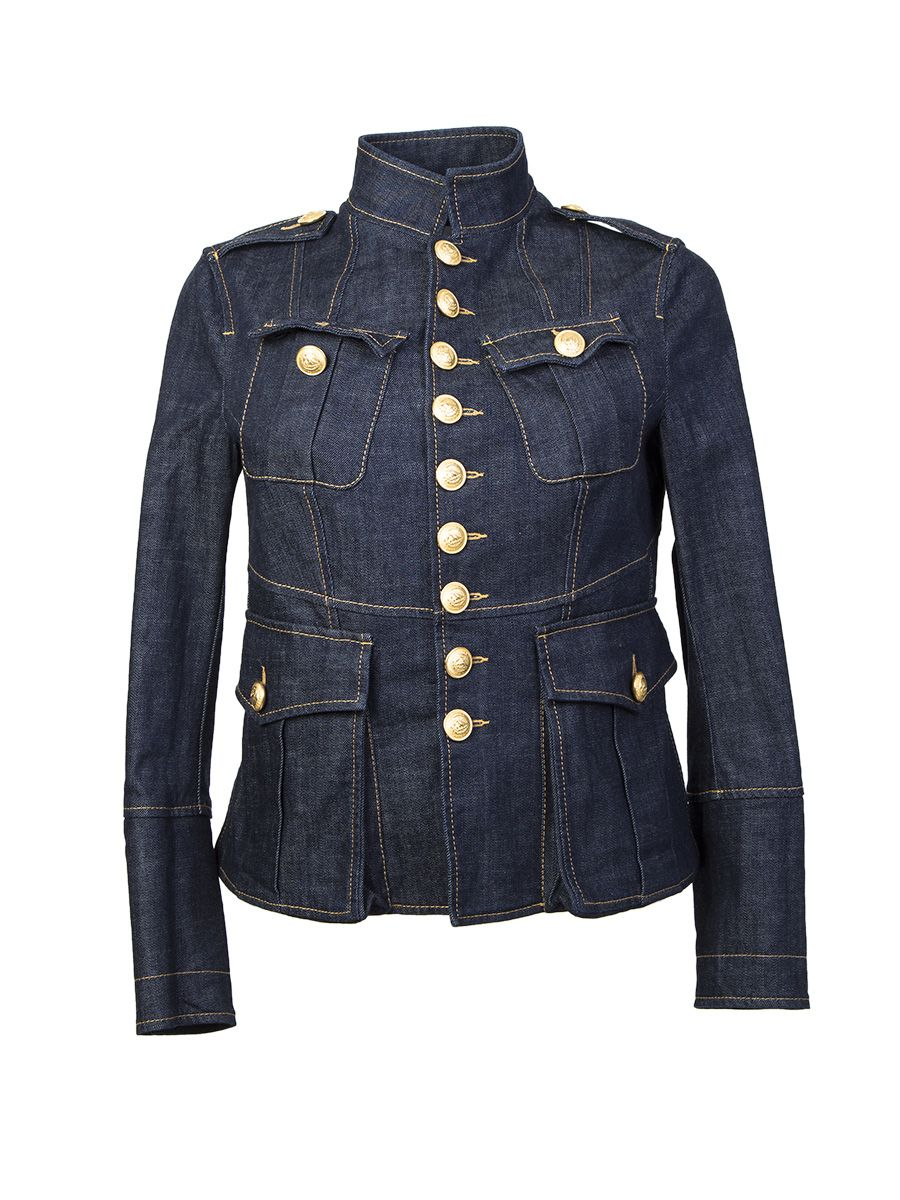Blue Denim Jacket Livery Glam Military Style
