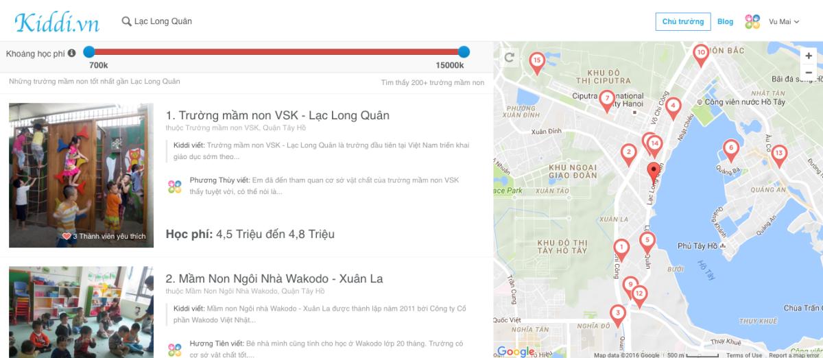 Các công cụ tìm kiếm trên Kiddi.vn