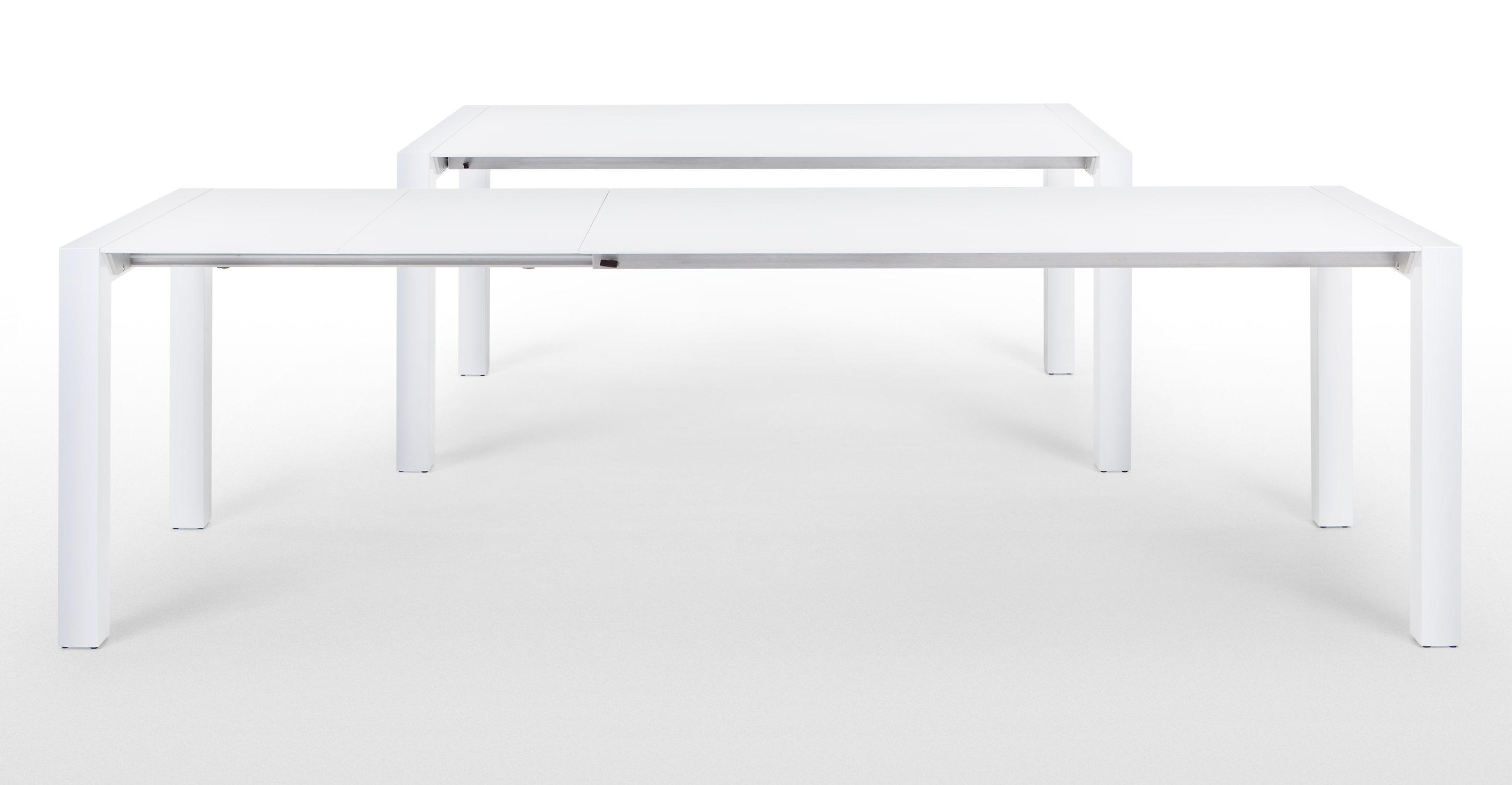 Bramante white gloss extending dining table - White extending dining tables ...