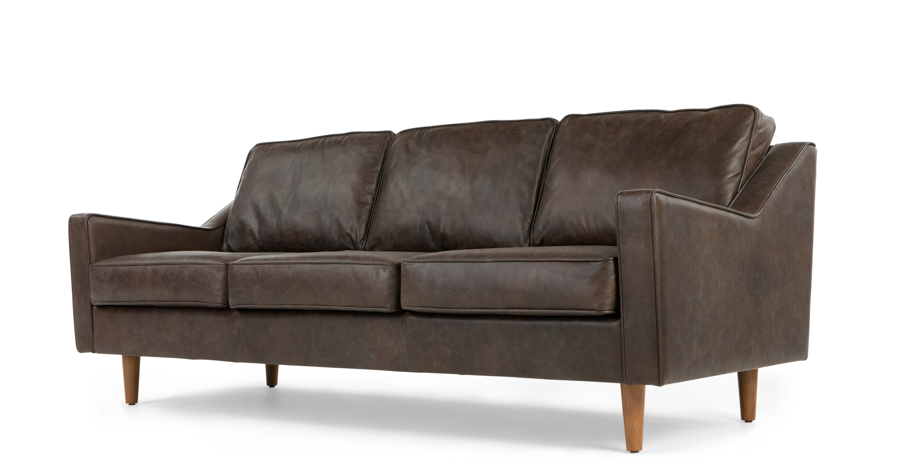 Dallas 3 Seater Sofa Oxford Brown Premium Leather Made Com