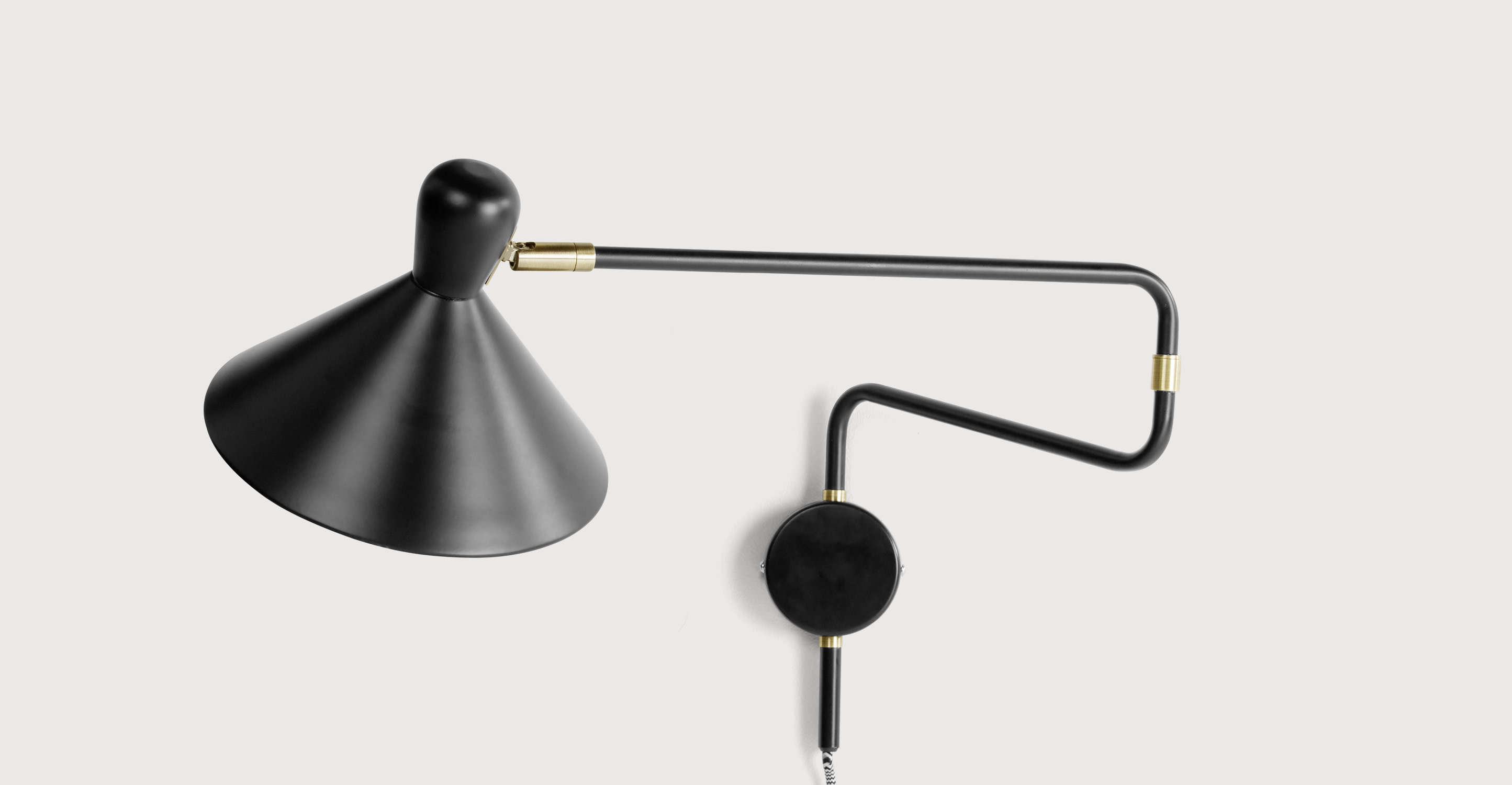 Ogilvy Swing Arm Wall Lamp, Matt Black and Antique Brass made.com