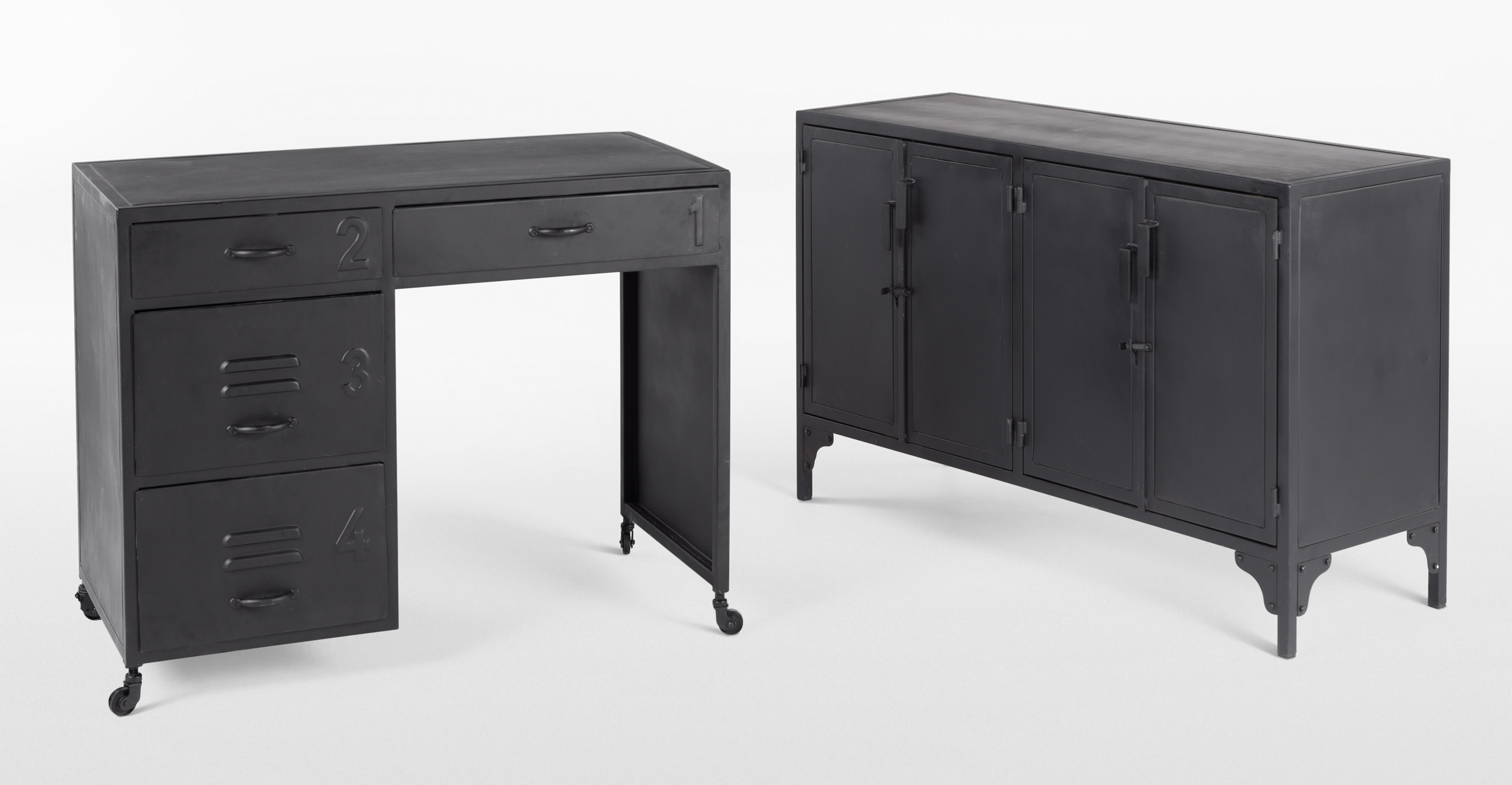 rankin bureau zwart metaal. Black Bedroom Furniture Sets. Home Design Ideas