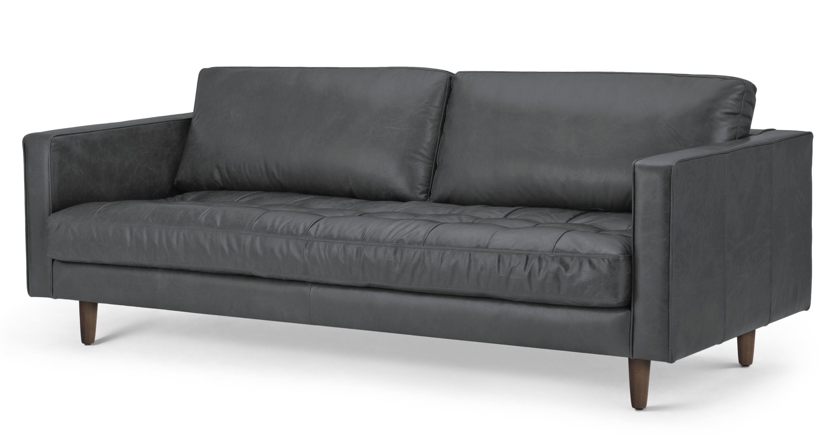 scott 3 seater sofa oxford grey premium leather. Black Bedroom Furniture Sets. Home Design Ideas