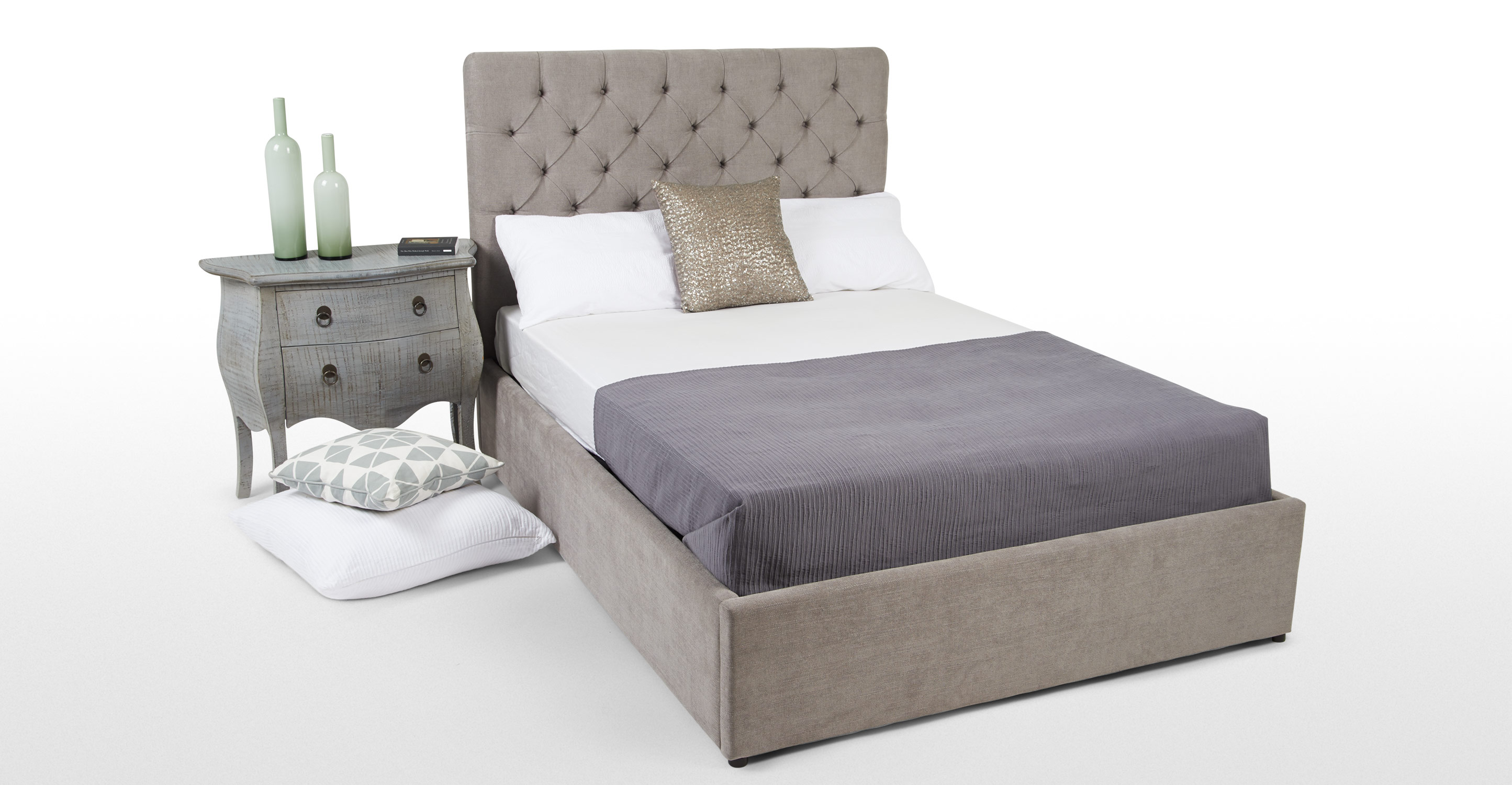 Skye double bed with storage owl grey for Double bed with storage and mattress