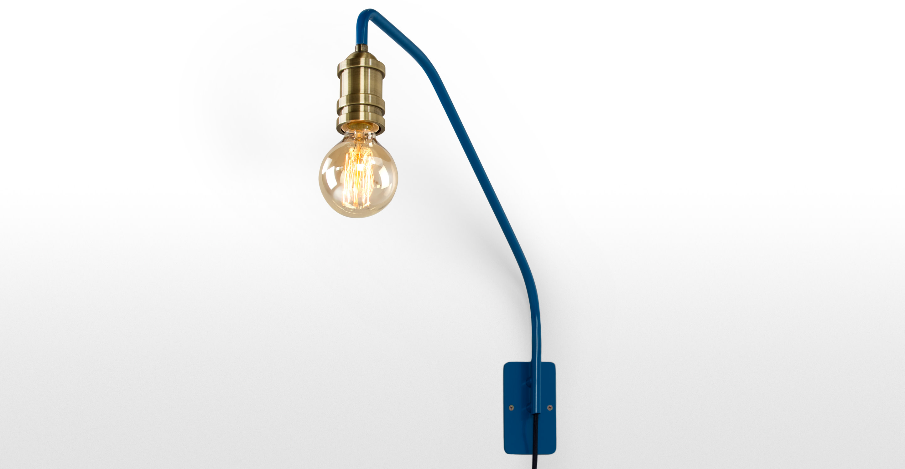 Starkey Wall Lamp Black And Brass : Starkey Wall Lamp, Blue and Brass made.com