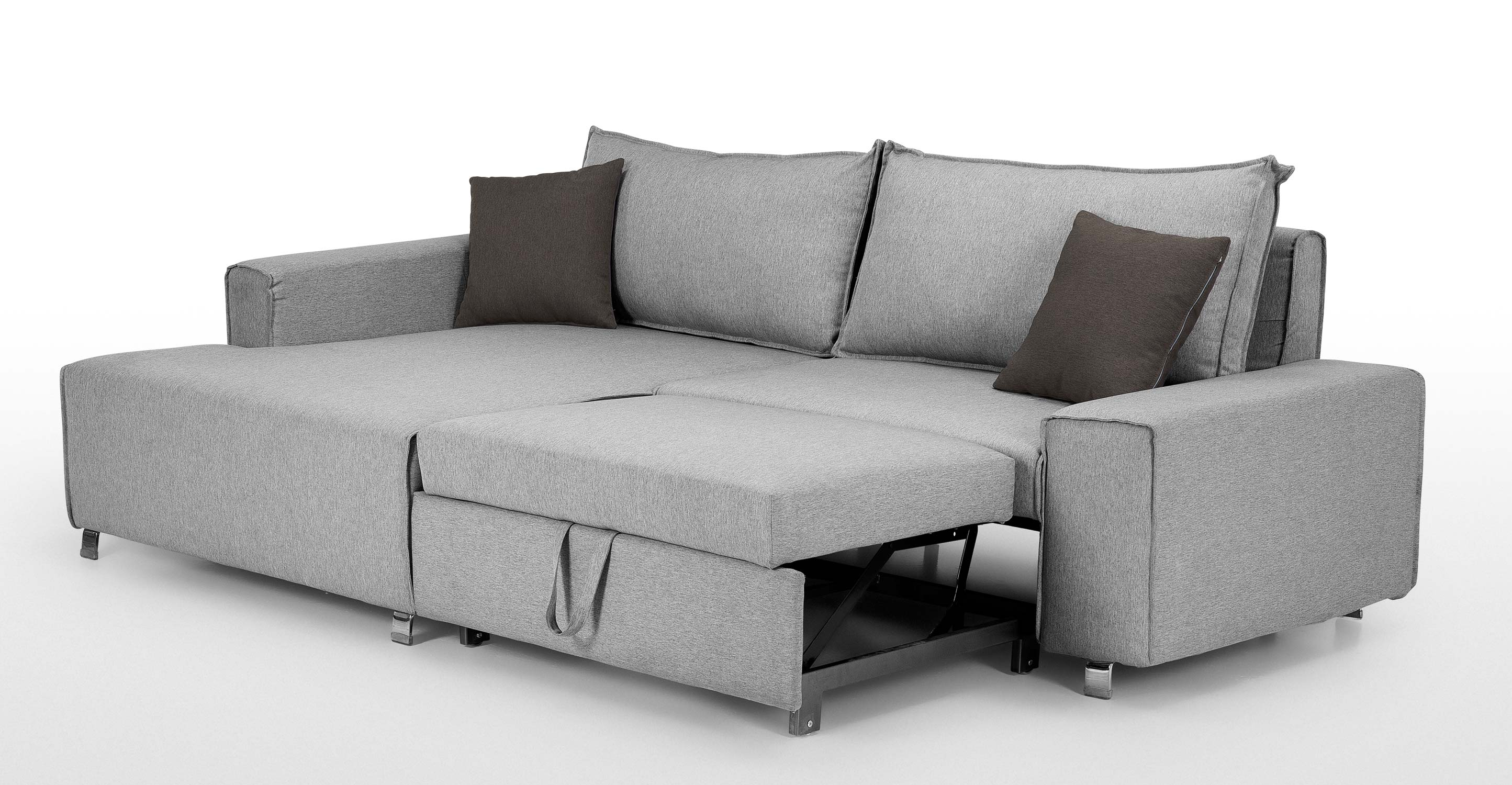 Mayne left hand facing corner sofa bed clear grey stone for Grey divan bed