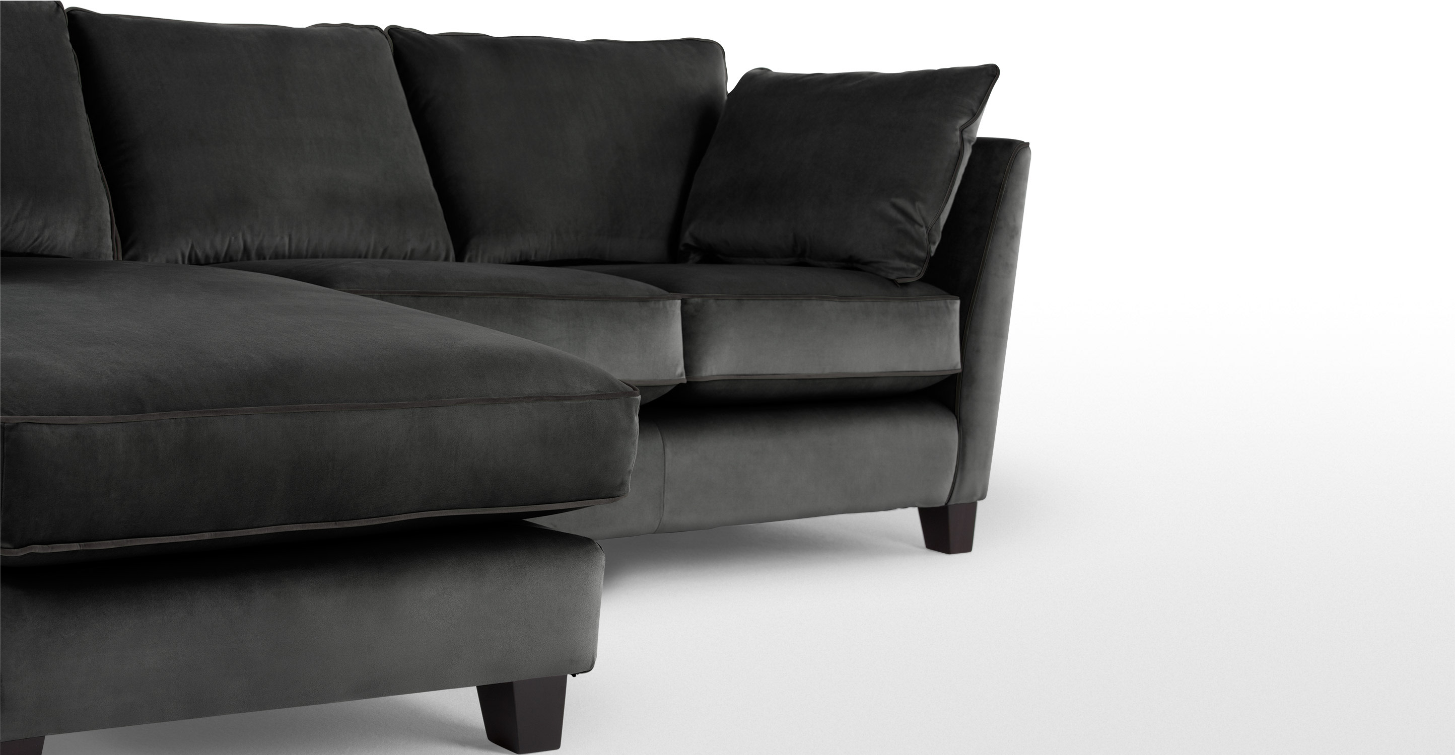 wolseley large corner sofa smoke grey velvet. Black Bedroom Furniture Sets. Home Design Ideas