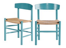 2 x Valder Dining Chairs, Sky Blue