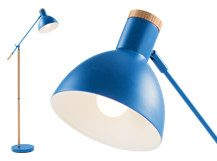 Cohen Floor Lamp, Memphis Blue and Natural Oak