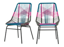 2 x Copa Outdoor Dining Chairs, Spectrum Pink