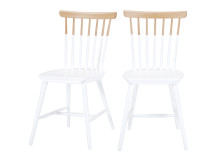 2 x Deauville Dining Chairs, Oak and White