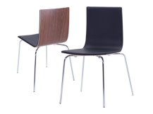 2 x Dolly Dining Chairs, Walnut and Black