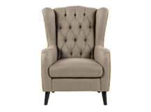 Duke Wingback Armchair, Tweed Wheat with Antique Velvet Trim and Buttons