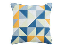 Elbert Cushion 45 x 45cm, Blue and Mustard Mix