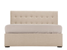 Finlay Double Bed with Storage, Biscuit Beige