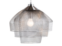 Gable Chandelier Pendant, Brushed and Polished Chrome