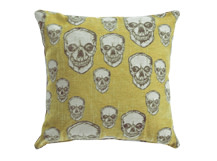 Hendrix Large Skull Pattern Scatter Cushion, Gold