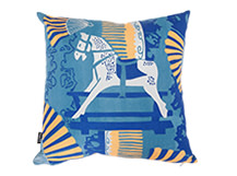 Rocking Horse Square Scatter Cushion 45 x 45cm, Mid Blue