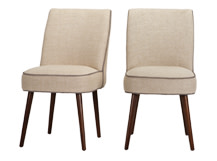2 x Jersey Dining Chairs, Biscuit Beige