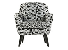 Johan Accent Chair, Graphic Print Black and Grey