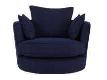 Leon Swivel Love Seat, Navy Blue