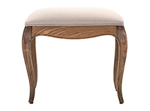 Marie Upholstered Stool, Natural Ash and Nougat Beige Cotton