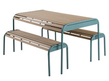 Mead Outdoor Bench Set, Graphite Blue