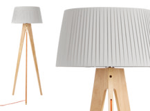 Miller Floor Lamp, Natural Wood and Orange