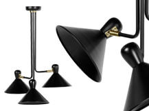 Ogilvy Fixed Multi Pendant, Matt Black and Antique Brass