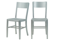 2 x Factory Chairs in Brushed Aluminium