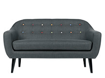Ritchie 2 Seater Sofa, Anthracite Grey With Rainbow Buttons