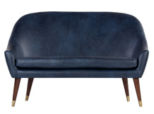 Seattle 2 Seater Sofa, Oxford Blue Premium Leather