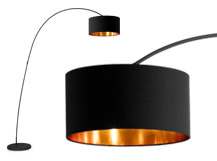 Sweep Floor Lamp, Matt Black with Copper