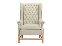 Manor Wing Back Chair, Biscuit Beige