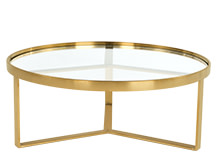 Aula Coffee Table, Brushed Brass and Glass